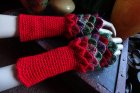Crochet dragonscale armwarmers
