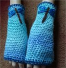 Crochet fingerless mittens with butterfly or dragonfly