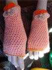 Crochet fingerless mittens with pansies